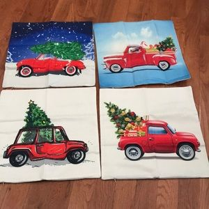 New Set/4 Christmas truck pillow covers